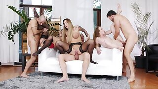 Three insatiable bitches getting fucked hard in the living room