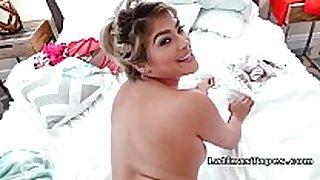 Latina in strap bikini bangs in bedroom